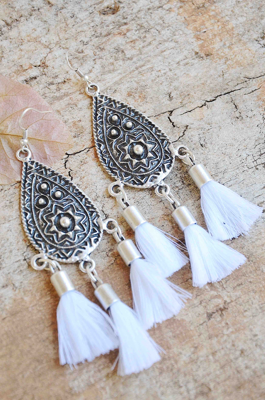 Handmade Silver Tassel Earrings in White