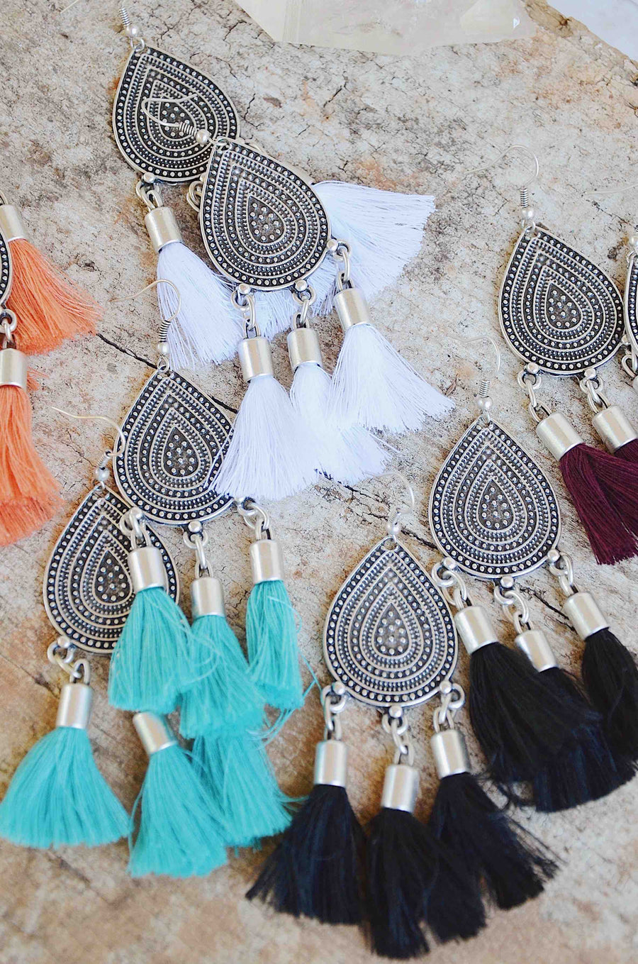 Shantay Black Tassel Earrings