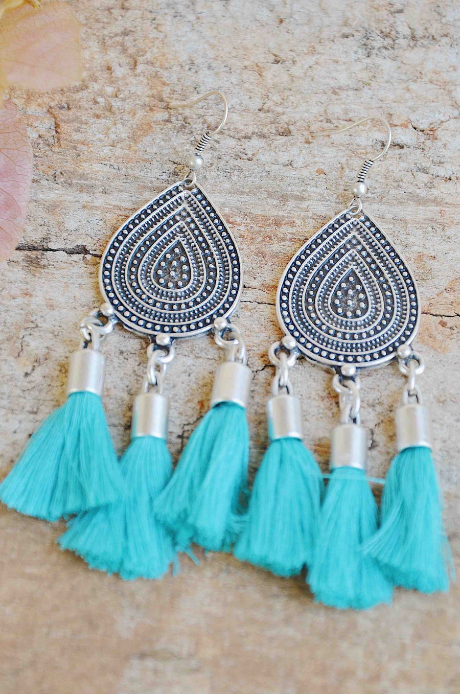 Handmade Turkish Silver Tassel Earrings in Teal