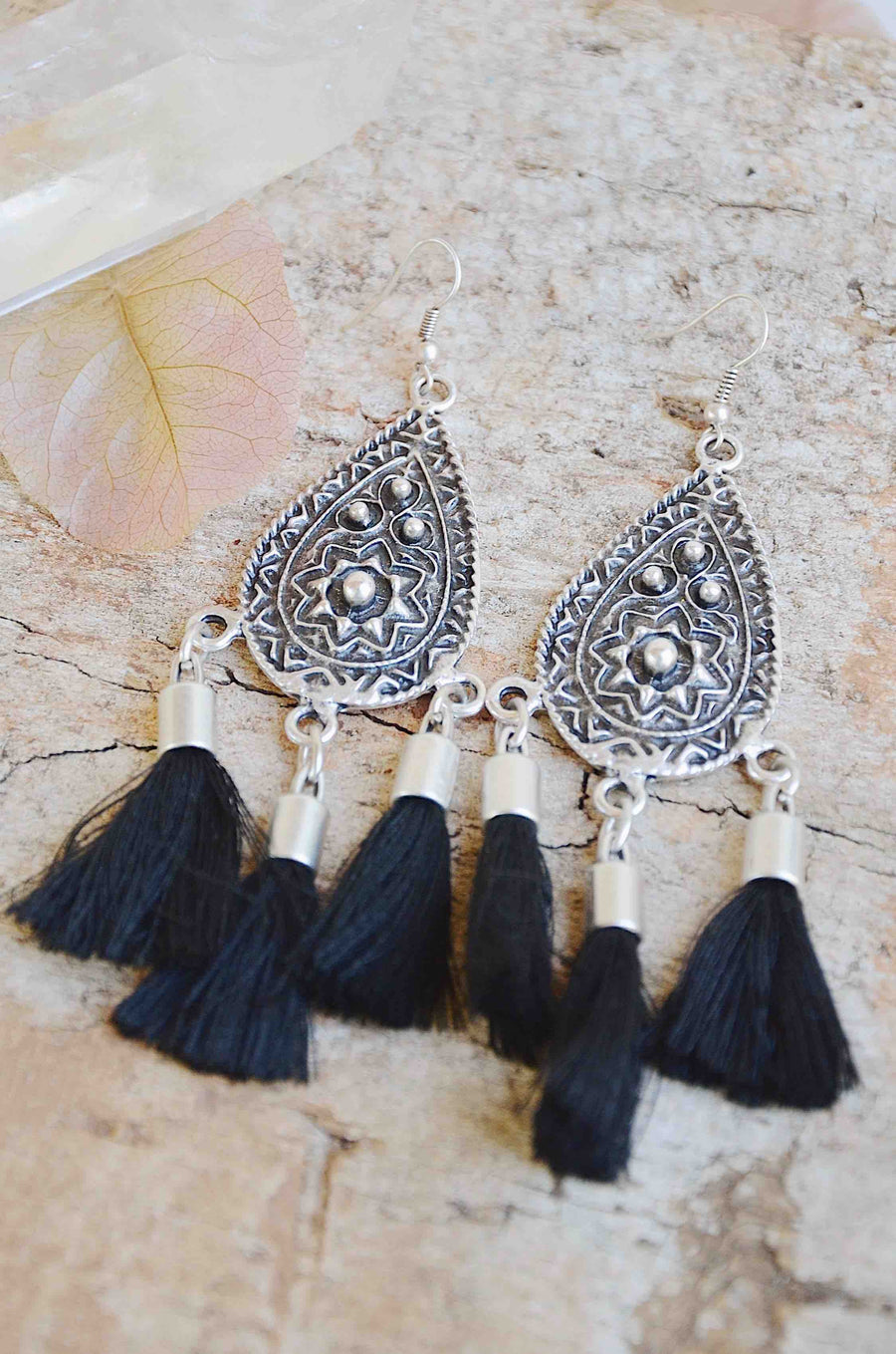 Handmade Silver Tassel Earrings in Black