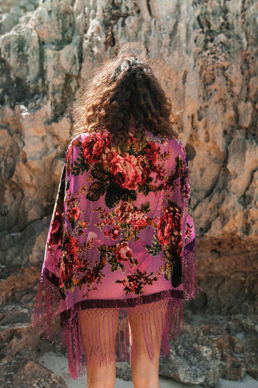 Silk Burnout Velvet Fringe Kimono in purple