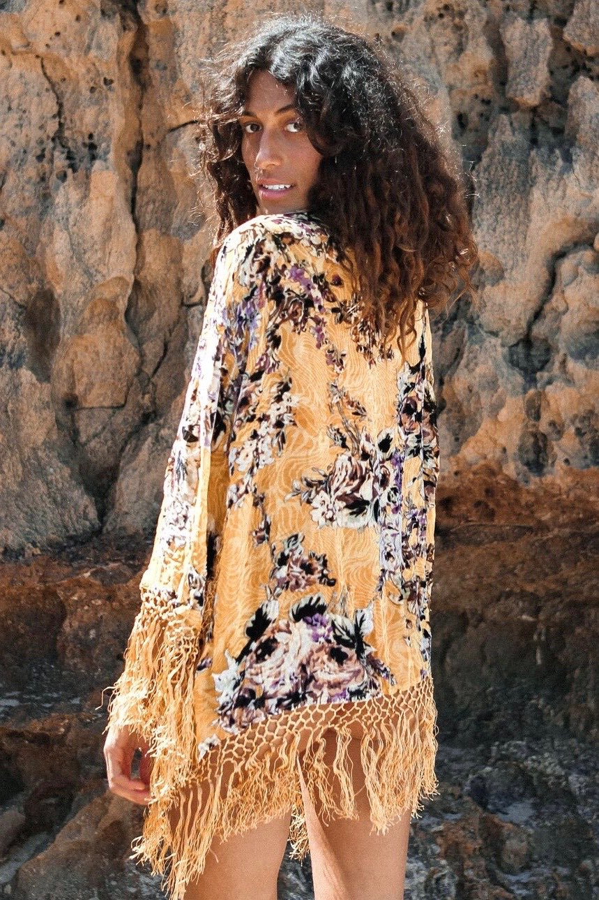 Yellow Floral Silk and Velvet Kimono