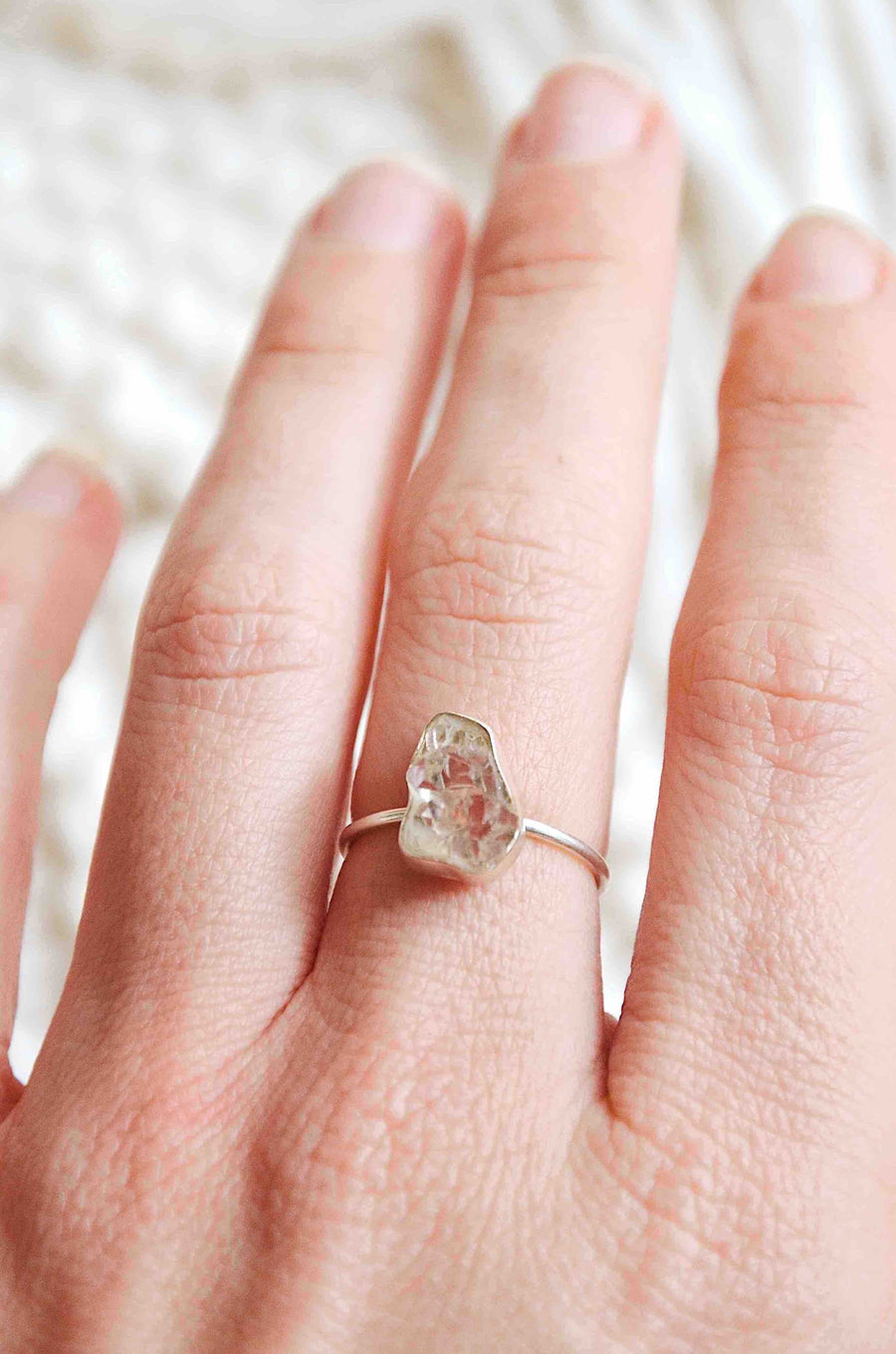 Sterling Silver Herkimer Diamond Ring
