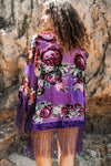 Silk Burnout Velvet Floral Kimono in purple