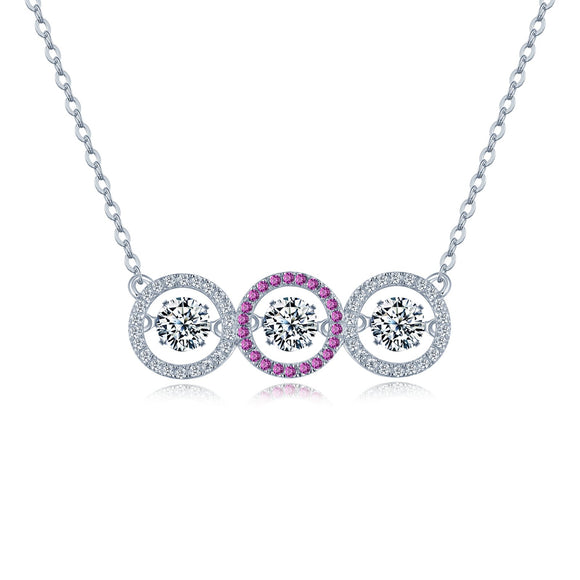 925 Sterling Silver Cubic Zirconia Circle Necklace-3 Circle Shaped Dancing Pendants - Posh N Popular Jewelry