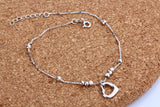 Sterling Silver Heart Anklet - Posh N Popular Jewelry