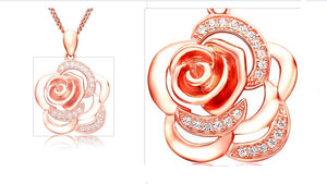 Pink Rose Necklace - Posh N Popular Jewelry