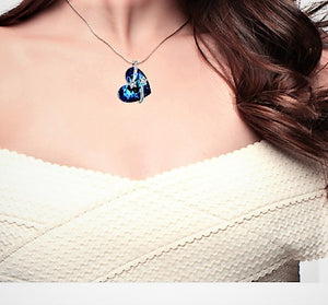 Sterling Silver Heart of the Ocean Necklace - Posh N Popular Jewelry