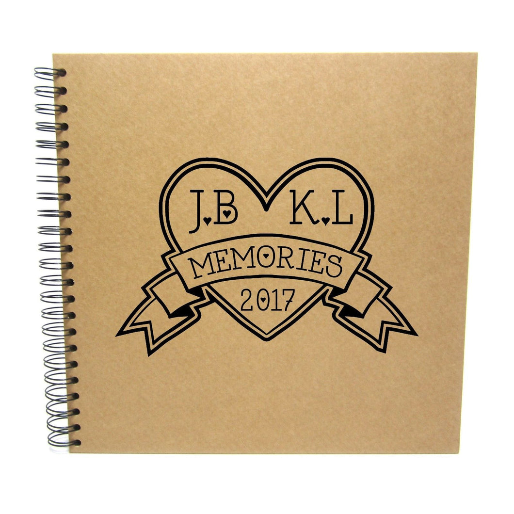 Personalised Square Heart Initials Memory Album