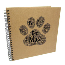 Personalised Paw Pet Typography Design, Scrapbook Album