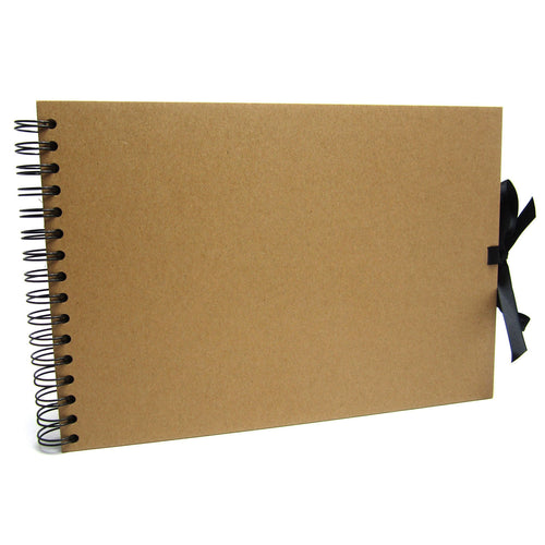 A4 Kraft Ribbon Landscape Scrapbook, Photo Album, Display Book