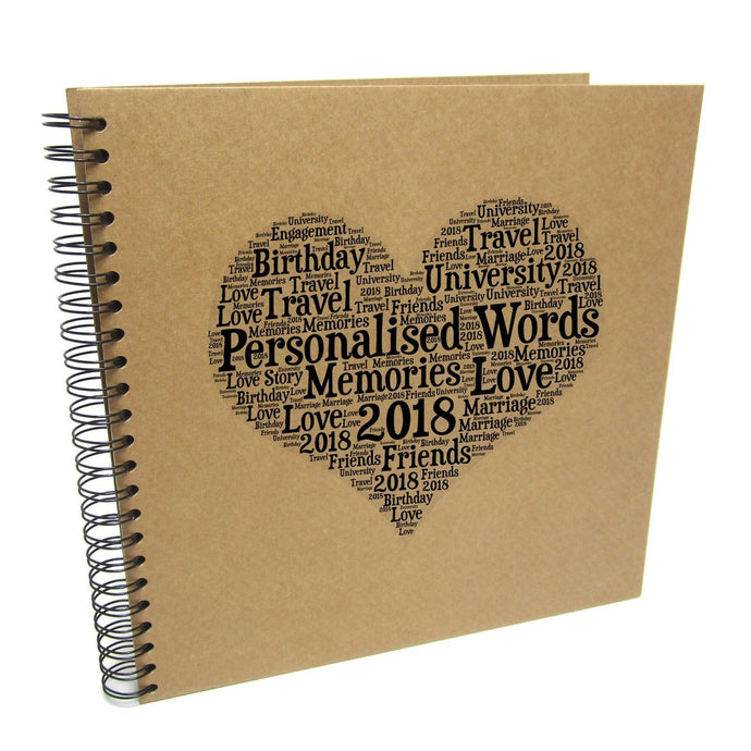 Personalised Typography Word Heart Album Scrapbook