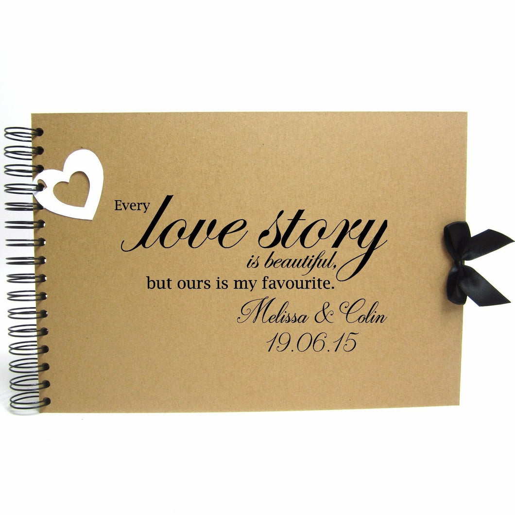Personalised Kraft Scrapbook A5 A4 Love Story, Photo Album, Keepsake, Guestbook