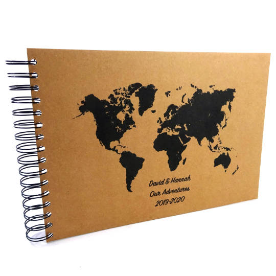 Personalised A5/A4/A3 World Map Scrapbook Travel Journal, Photo Album, Gift