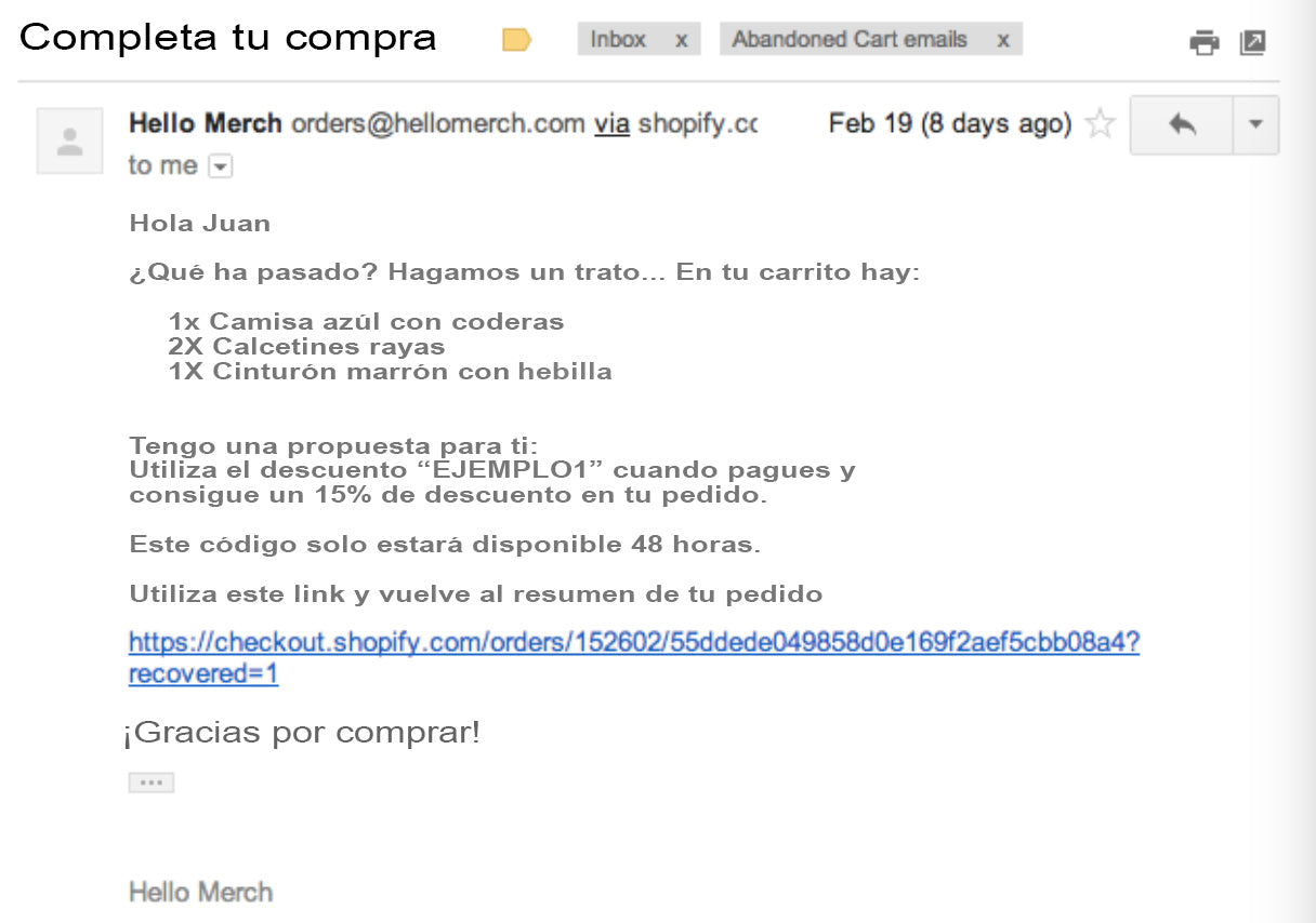 Campaña emails Shopify