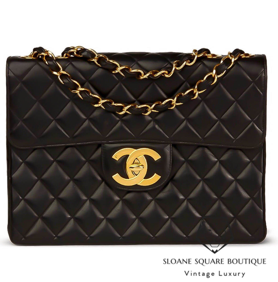 5ebe26a6143154 CHANEL BLACK QUILTED LAMBSKIN VINTAGE JUMBO CLASSIC SINGLE FLAP BAG ...