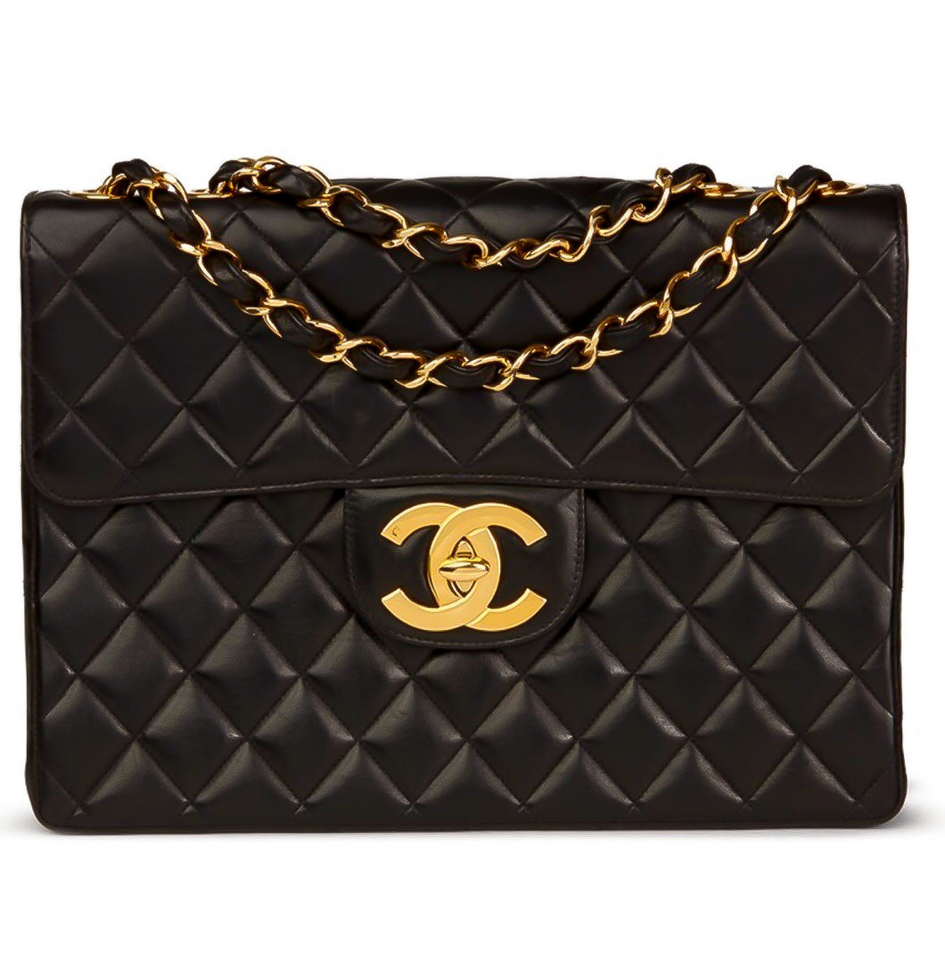 f1744c07913788 CHANEL BLACK BAG VINTAGE QUILTED LAMBSKIN JUMBO CLASSIC FLAP GOLD HARDWARE