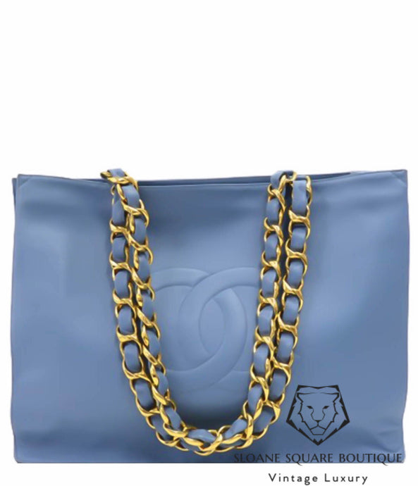 4d7716e5fc44f6 CHANEL BLUE LAMBSKIN VINTAGE JUMBO XL TIMELESS SHOPPING TOTE