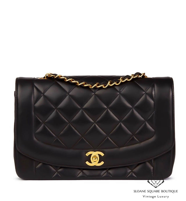 8e5971d8cf52 CHANEL BLACK LAMBSKIN VINTAGE MEDIUM DIANA CLASSIC SINGLE FLAP BAG WITH  GOLD HARDWARE
