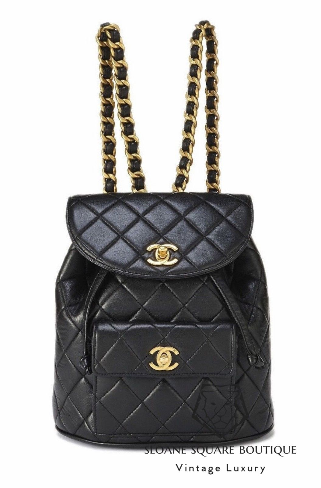 f7c88354191a CHANEL VINTAGE BLACK QUILTED CHAIN DRAWSTRING BACKPACK BAG ...