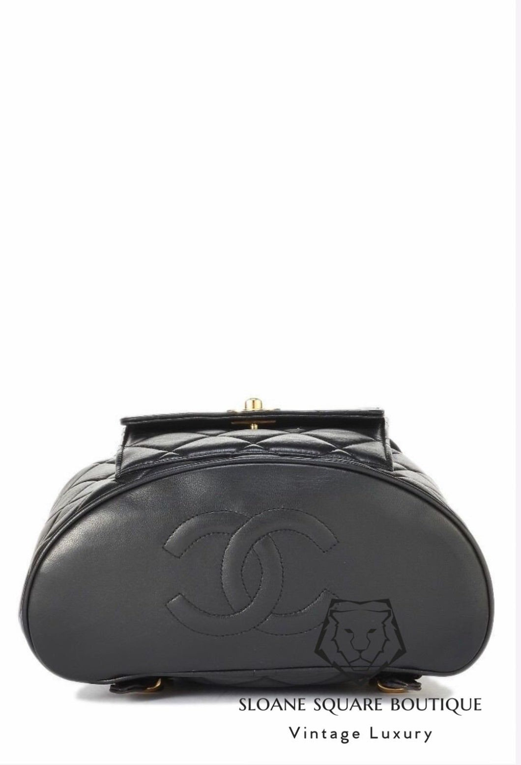 25e52d50b9225f ... CHANEL VINTAGE BLACK QUILTED CHAIN DRAWSTRING BACKPACK BAG ...