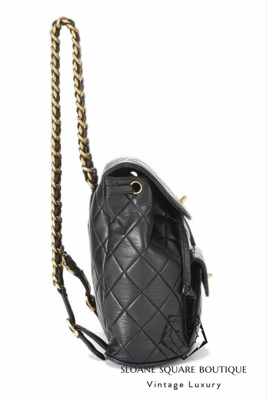 3daf2321b0e6 ... CHANEL VINTAGE BLACK QUILTED CHAIN DRAWSTRING BACKPACK BAG ...