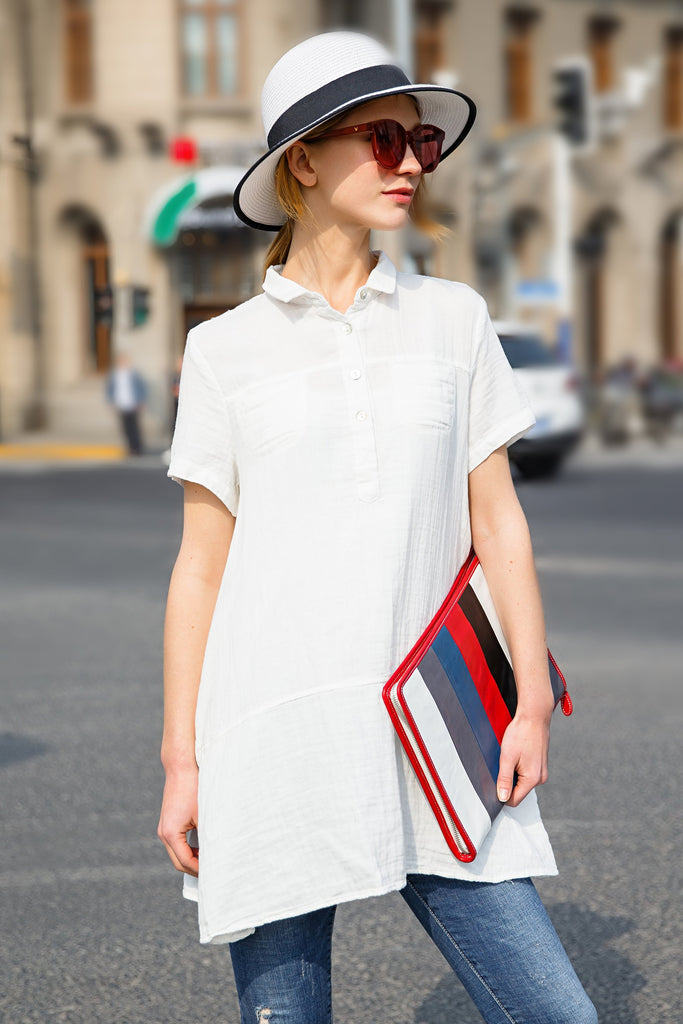 Woman Summer Short Sleeve Long Shirt-White