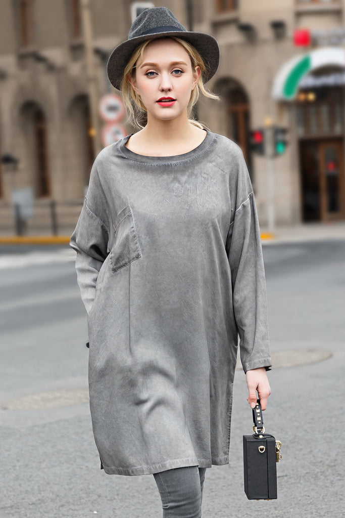 Woman Summer Casual Long Sleeve Blouse -Gray