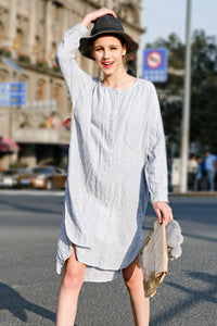 Woman Summer Casual Long Sleeve Blouse -White
