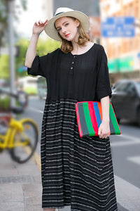 Woman Spring Short Sleeve Long Dress with Striped- Black