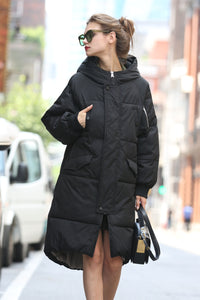 Women's Hooded Puffer Coat - Black
