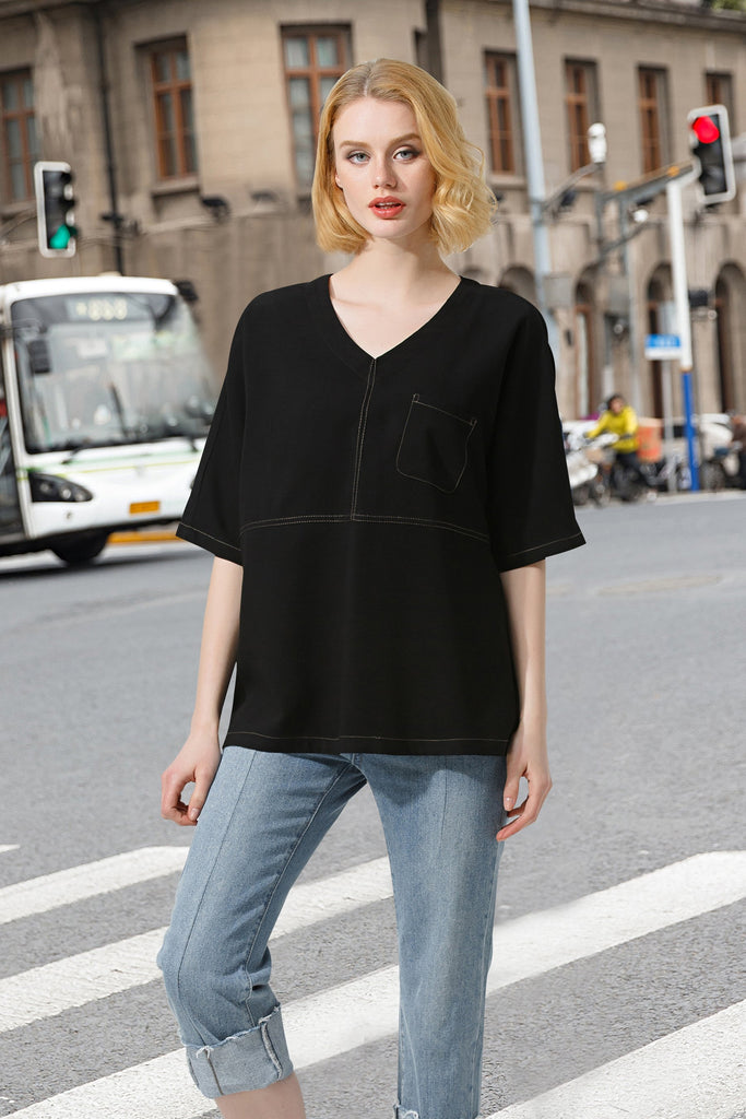 Woman Spring Short T-Shirt V-neck-Black
