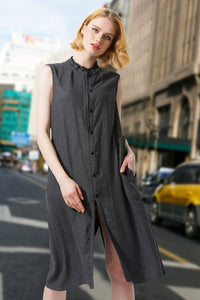 Woman Summer Long Casual Waistcoat Dress- Gray