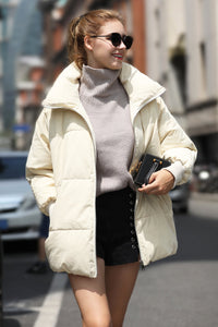 Women's Cotton Short Puffer coat - Beige