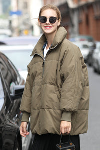Women's Cotton Short Puffer coat - Green