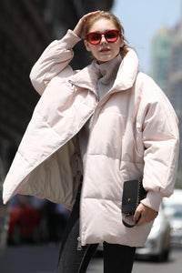 Women's Cotton Short Puffer coat - Pink