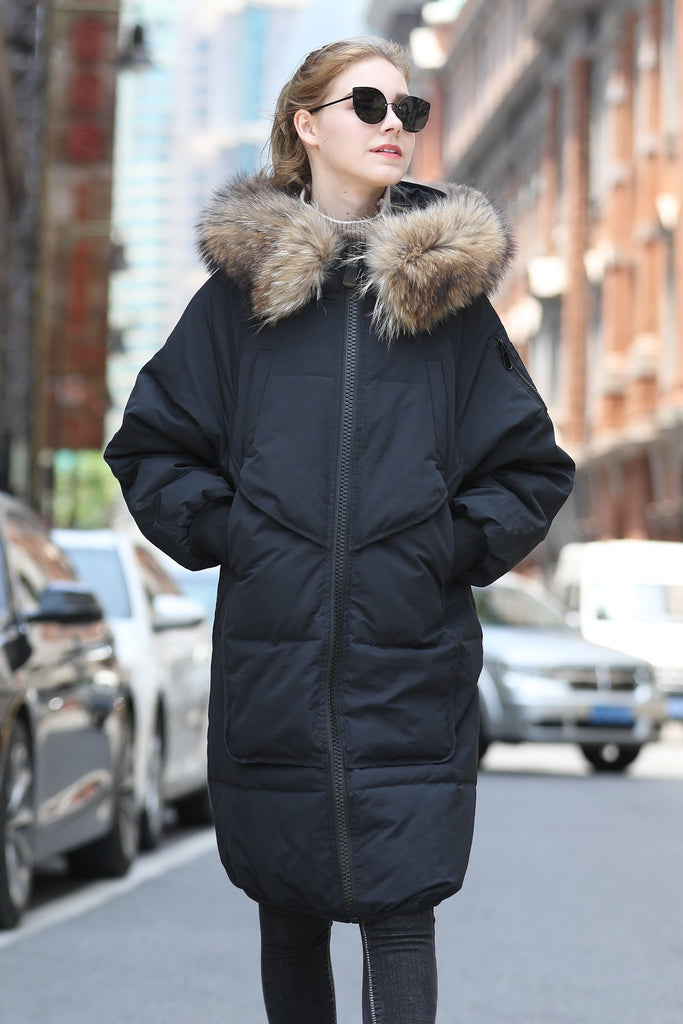 Women's Medium Length Casual Quilted Coat - Black