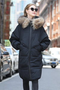 Women's Medium Long Puffer Coat - Gray