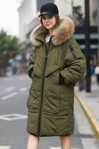 Women's Medium Length Casual Quilted Coat - Khaki