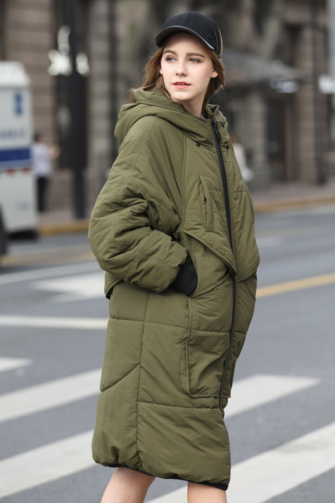 Women's Medium Length Casual Quilted Coat - Green