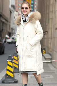 Women's Hooded Warm Winter Quilted Coat - Beige