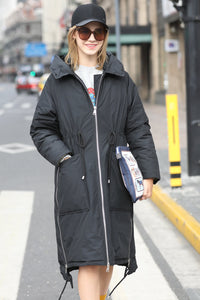 Women's Hooded Warm Winter Quilted Coat - Black