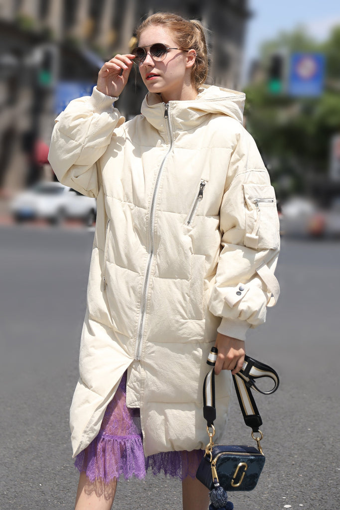 Women's Military Style Quilted Puffer Coat - Beige