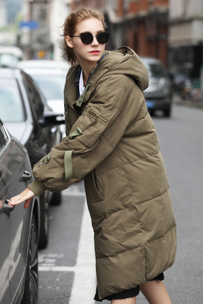 Women's Military Style Quilted Puffer Coat - Green