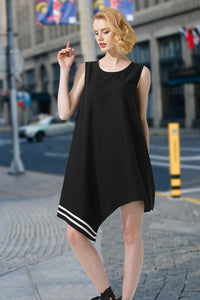 Woman Summer Short Sleeve Loose Dress-Black
