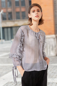 Woman Summer Long Sleeve Blouse with Fold - Gray