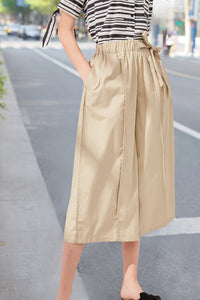 Woman Summer Elastic Waistband Pants - Khaki