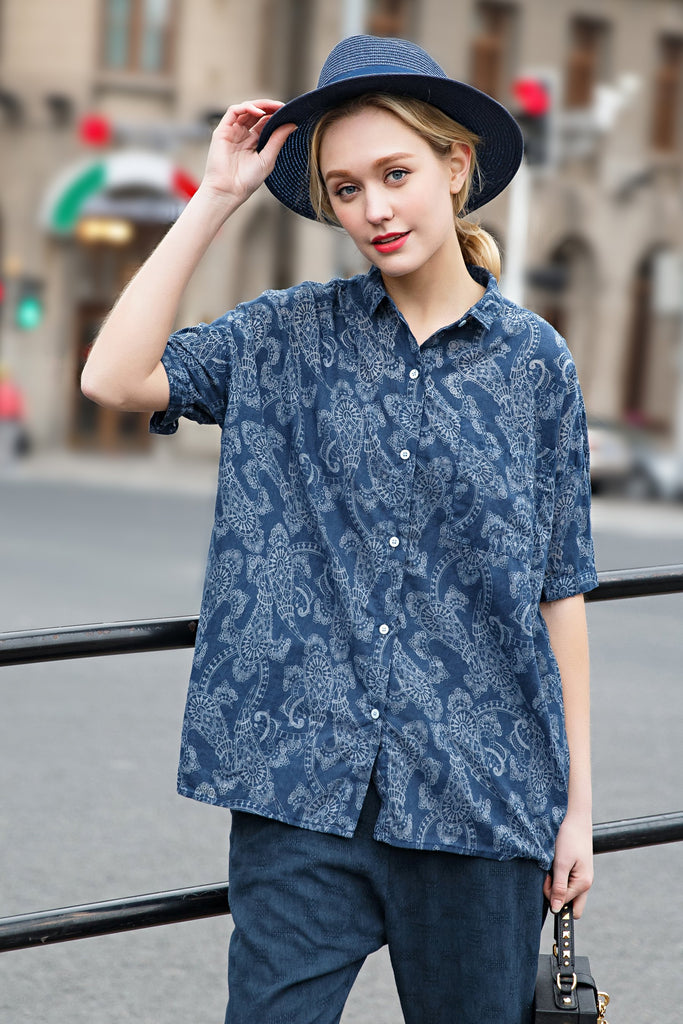 Women Spring Short Sleeves Shirt with Floral-print - Navy Blue