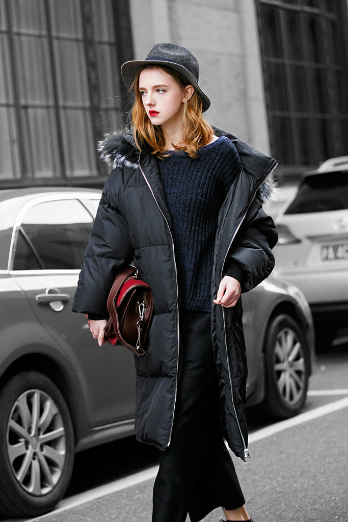 Women's Faux Fur Trim Puffer Coat - Black