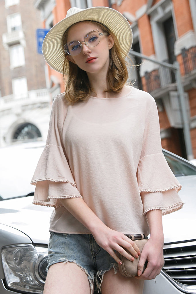 Woman Summer Short Blouse with Loose Tuff Sleeve - Pink
